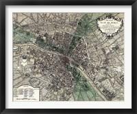 Framed Plan de Paris - green