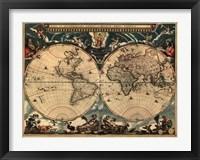 Framed World Map 1664