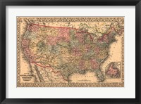 Framed Map of the United States, 1867