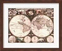 Framed World Map, 1660