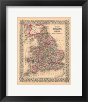 Framed County Map of England and Wales, 1867