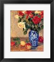 Framed Roses in a Mexican Vase