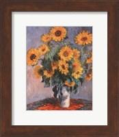 Framed Vase of Sunflowers