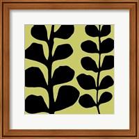 Framed Black Fern on Green