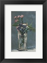Framed Carnations and Clematis in a Crystal Vase