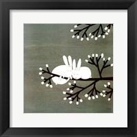 Rabbits on Marshmallow Tree Framed Print