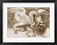 Framed Fight between a Dragon and a Lion