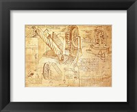 Framed Facsimile of Codex  Atlanticus Screws and Water Wheels