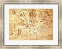 Framed Facsimile of Codex  Atlanticus Screws and Water Wheels