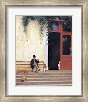 Framed Artist's Father and Son on the Doorstep of his House
