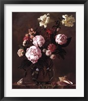 Framed Peonies with Roses and Sweet Peas