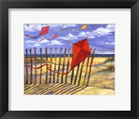 Beach Kites Red - mini Framed Print