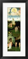 Framed Haywain: left wing of the triptych depicting the Garden of Eden, c.1500