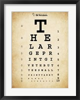 Framed Tom Waits Eye Chart