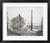 Framed River Scene with Vessel at Sunset