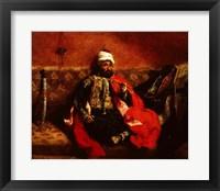 Framed Turk smoking sitting on a sofa, c.1825