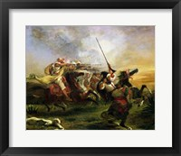 Framed Moroccan horsemen in military action, 1832