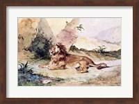 Framed Lion in the Desert, 1834
