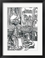 Framed St. Jerome in his study pulling a thorn from a lion's paw