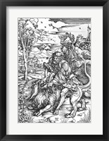 Framed Samson slaying the lion