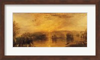 Framed Lake, Petworth: Sunset, a Stag Drinking