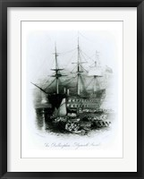 Framed Bellerophon at Plymouth Sound in 1815
