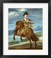 Framed Prince Balthasar Carlos on horseback