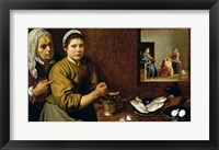 Framed Kitchen Scene with Christ in the House of Martha and Mary