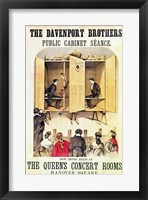 Framed Poster advertising a psychic performance by the Davenport Brothers, 1865