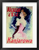 Framed Poster advertising Alcazar d'Ete starring Kanjarowa