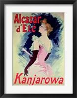 Framed Poster advertising Alcazar d'Ete starring Kanjarowa