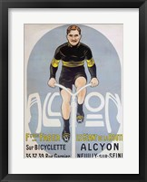 Framed Poster depicting Francois Faber on his Alcyon bicycle