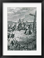 Framed Jacques Cartier Setting up a Cross at Gaspe