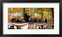 Framed Abraham Lincoln and Stephen A. Douglas debating at Charleston