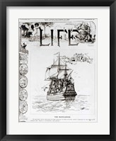 Framed Mayflower, front cover from 'Life' magazine, 11th October, 1883