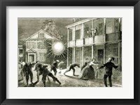 Framed Federals shelling the City of Charleston: Shell bursting in the streets in 1863