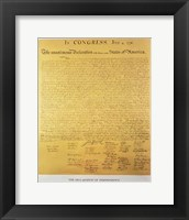 Framed Declaration of Independence of the 13 United States of America of 1776