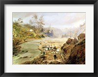 Framed 'Fortyniners' washing gold from the Calaveres River, California, 1858
