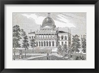 Framed Southern view of the State House in Boston