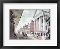 Framed High street with the first Presbyterian Church, Philadelphia, 1799