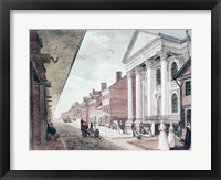 Framed High street with the first Presbyterian Church, Philadelphia, 1799