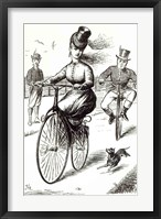 Framed Cartoon of a Lady on a Velocipede, 1869