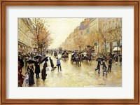 Framed Boulevard Poissonniere in the Rain