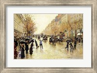 Framed Boulevard Poissonniere in the Rain