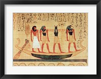 Framed Papyrus depicting a man being transported on a barque to the afterlife