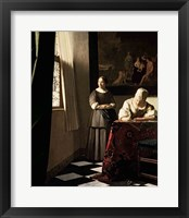Framed Lady writing a letter with her Maid