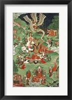 Framed Buddha cutting a tuft of hair, Tibetan temple banner