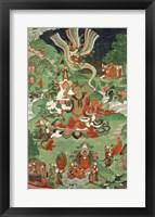 Framed Buddha cutting a tuft of hair, Tibetan temple banner