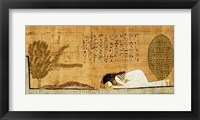 Framed Funerary papyrus depicting the deceased prostrate in front of the crocodile