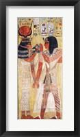 Framed Goddess Hathor placing the magic collar on Seti